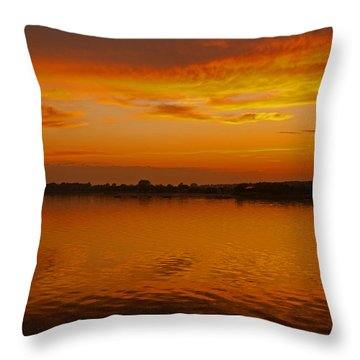 Throw Pillow featuring the pyrography Sun Going Down In Jastarnia by Julis Simo