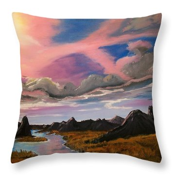 Throw Pillow featuring the painting Arizona Sunrise  by Sharon Duguay