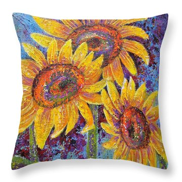 Sun-kissed Beauties Throw Pillow by Margaret Bobb