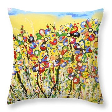 Sun-kissed Flower Garden Throw Pillow