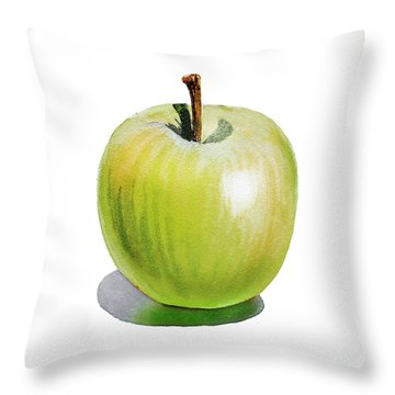 Throw Pillow featuring the painting Sun Kissed Green Apple by Irina Sztukowski