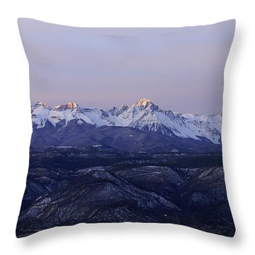 Sun-kissed Sneffels Throw Pillow by Kelly Black