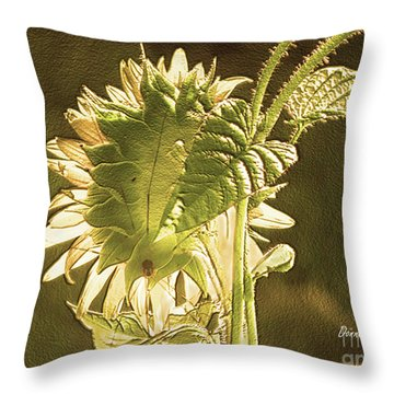 Throw Pillow featuring the photograph Sun-lite Sunflowwer by Donna Brown