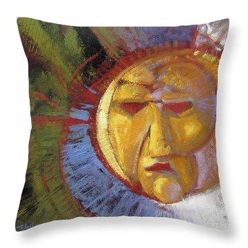 Sun Mask Throw Pillow