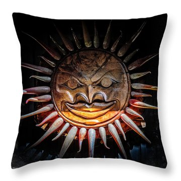 Sun Mask Throw Pillow
