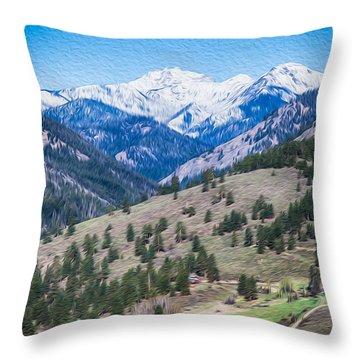 Sun Mountain View Of Mt Gardner In Springtime Throw Pillow by Omaste Witkowski