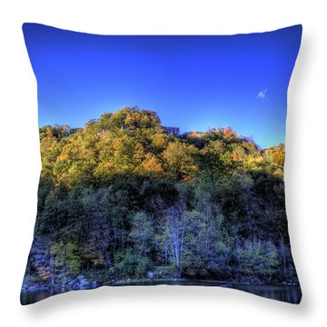 Throw Pillow featuring the photograph Sun On Autumn Trees by Jonny D