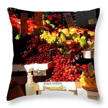 Throw Pillow featuring the photograph Sun On Fruit Close Up by Miriam Danar