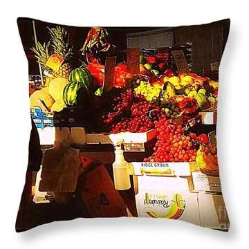 Throw Pillow featuring the photograph Sun On Fruit by Miriam Danar