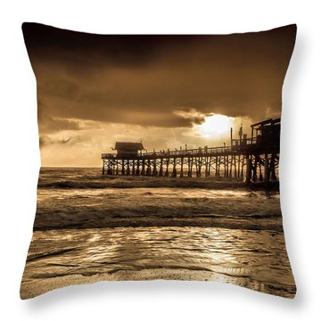 Sun Over The Pier Throw Pillow by Steven Reed