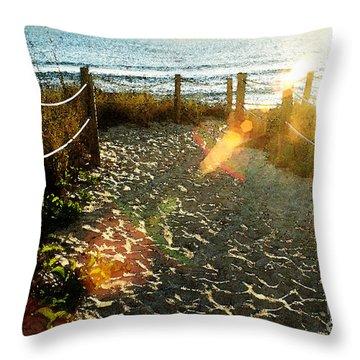 Sun Ray Beach Path Throw Pillow