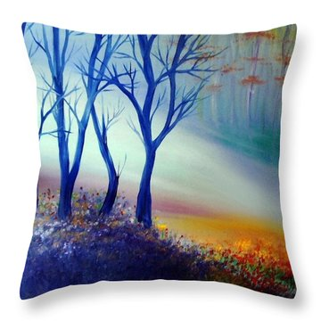 Throw Pillow featuring the painting Sun Ray In Blue  by Lilia D