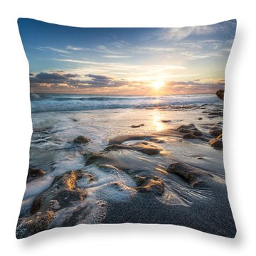 Sun Rays On The Ocean Throw Pillow by Debra and Dave Vanderlaan