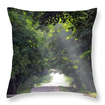 Sun Rays On Waters End Road Throw Pillow