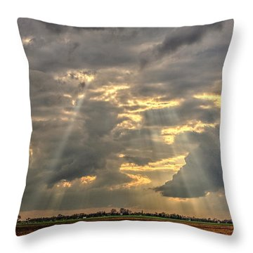 Throw Pillow featuring the photograph Sun Rays Over A Field by Julis Simo