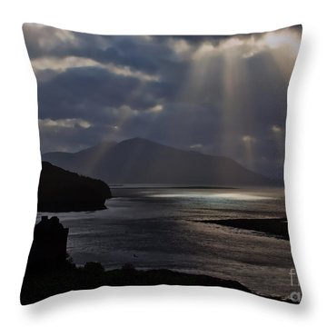 Sun Rays Over Eilean Donan Castle Throw Pillow