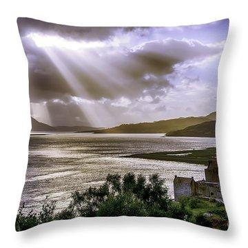 Sun Rays Over Eilean Donan Castle Throw Pillow
