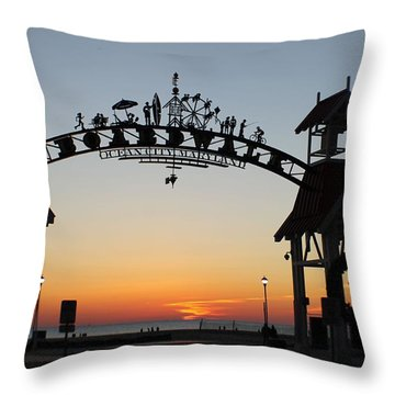 Sun Reflecting On Clouds Ocean City Boardwalk Arch Throw Pillow