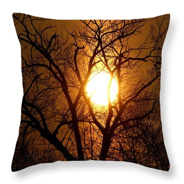 Sun Rise Sun Pillar Silhouette Throw Pillow by Kenny Glotfelty