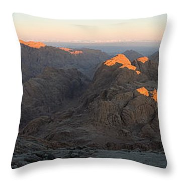 Throw Pillow featuring the photograph Sun Rising On Sinai - Wide Angle Panorama by Julis Simo