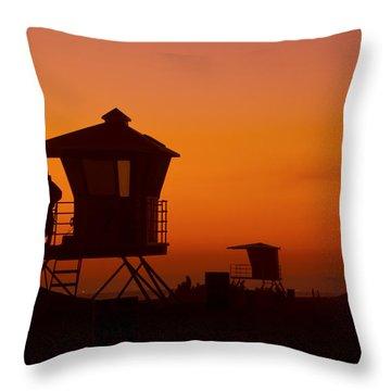 Sun Sets On Huntington Beach Throw Pillow