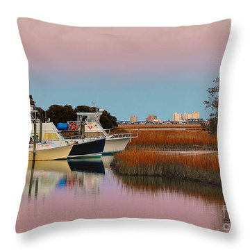 Sun Setting At Murrells Inlet Throw Pillow