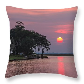 Sun Setting In The Bayou Throw Pillow by Brian Wright