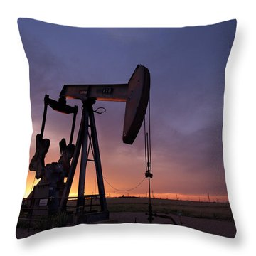 Sun Setting On Big Money Throw Pillow by Melany Sarafis