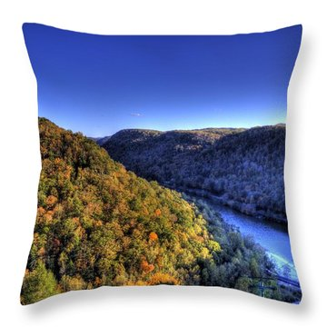 Sun Setting On Fall Hills Throw Pillow by Jonny D