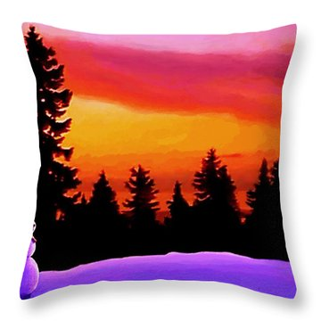 Sun Setting On Snow Throw Pillow
