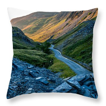 Sun Setting Over The Honister Pass Throw Pillow