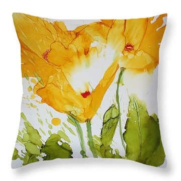Sun Splashed Poppies Throw Pillow