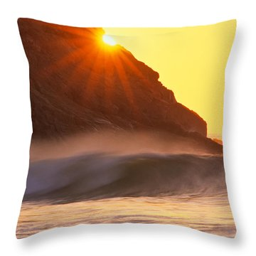 Throw Pillow featuring the photograph Sun Star Singing Beach by Michael Hubley