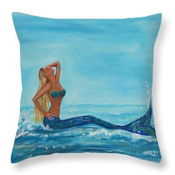Sunbathing Mermaid Throw Pillow