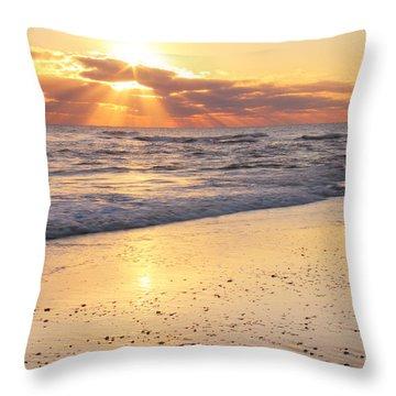 Sunbeams On The Beach Throw Pillow