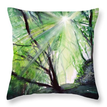 Throw Pillow featuring the painting Sunbeans Of Grace by Allison Ashton