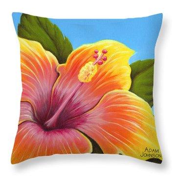 Sunburst Hibiscus Throw Pillow by Adam Johnson