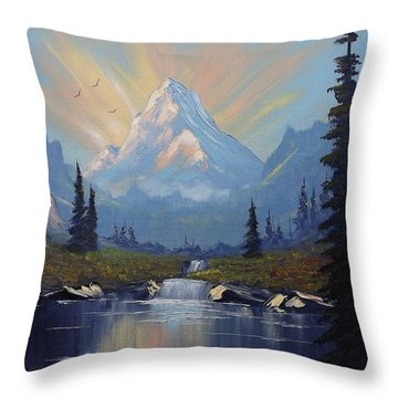Sunburst Landscape Throw Pillow