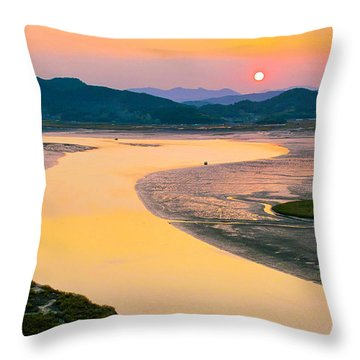 Suncheon Bay Sunset Throw Pillow