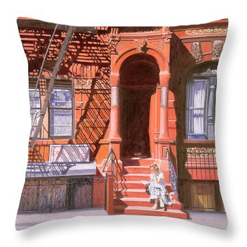 Sunday Afternoon East 7th Street Lower East Side Nyc Throw Pillow by Anthony Butera