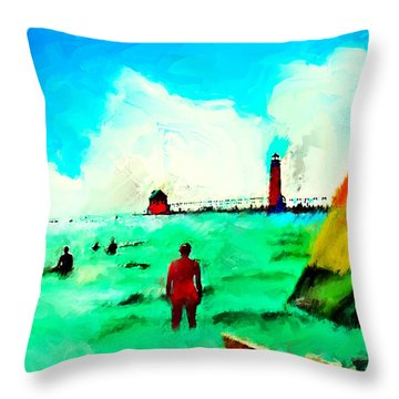 Throw Pillow featuring the painting Sunday At Grand Haven by Ted Azriel