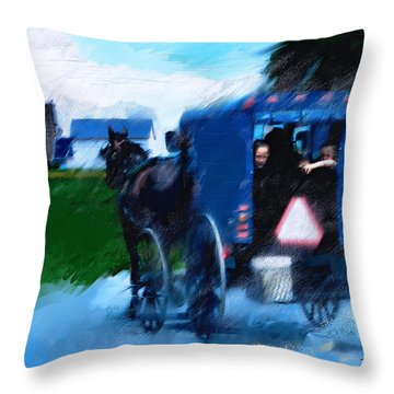 Throw Pillow featuring the painting Sunday Buggy Ride by Ted Azriel