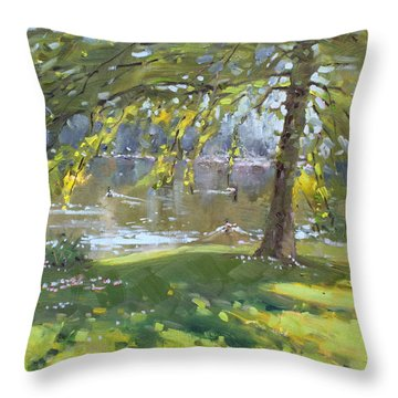 Sunday By The Pond In Port Credit Mississauga Throw Pillow by Ylli Haruni