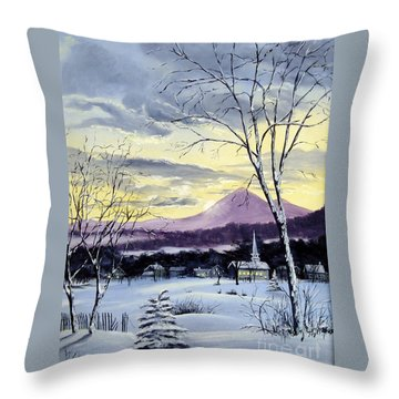 Throw Pillow featuring the painting Sunday In Winter by Lee Piper