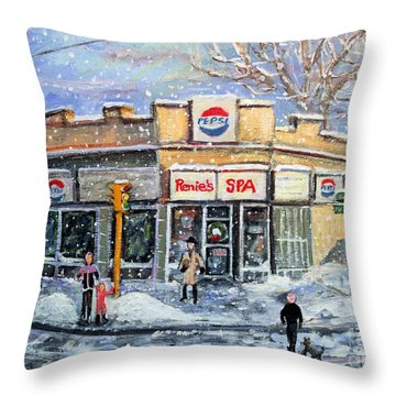 Throw Pillow featuring the painting Sunday Morning At Renie's Spa by Rita Brown