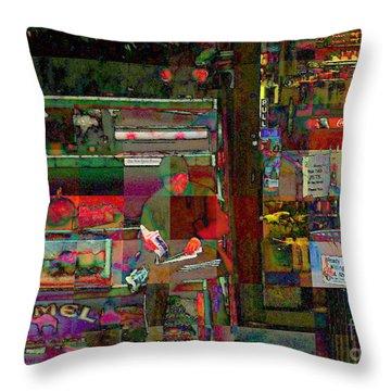 Sunday Paper Throw Pillow by Miriam Danar