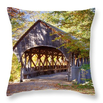 Sunday River Covered Bridge Throw Pillow by Jeff Folger