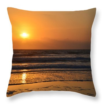 Throw Pillow featuring the photograph Sundays Golden Sunrise by DigiArt Diaries by Vicky B Fuller