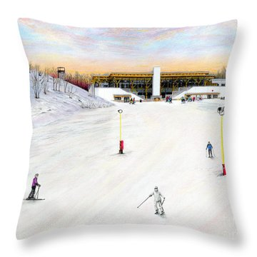 Throw Pillow featuring the painting Sundial Lodge At Nemacolin Woodlands Resort by Albert Puskaric