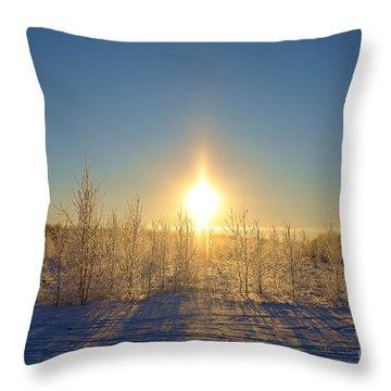 Sundogs In Winter Wonderland Throw Pillow